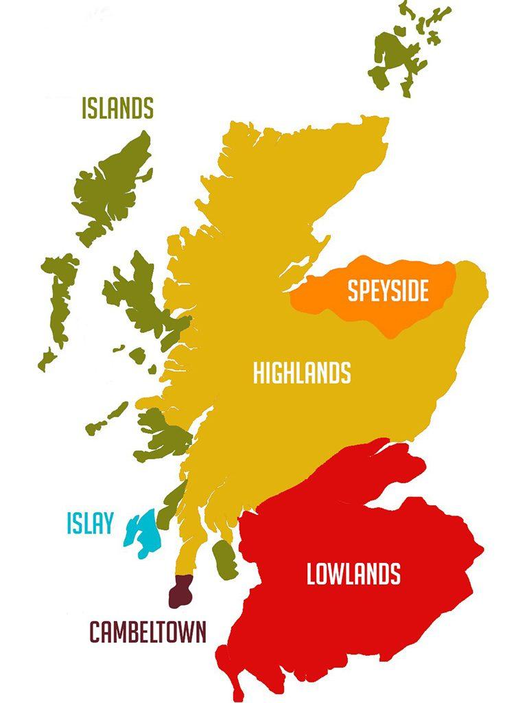 whisky regióny mapa